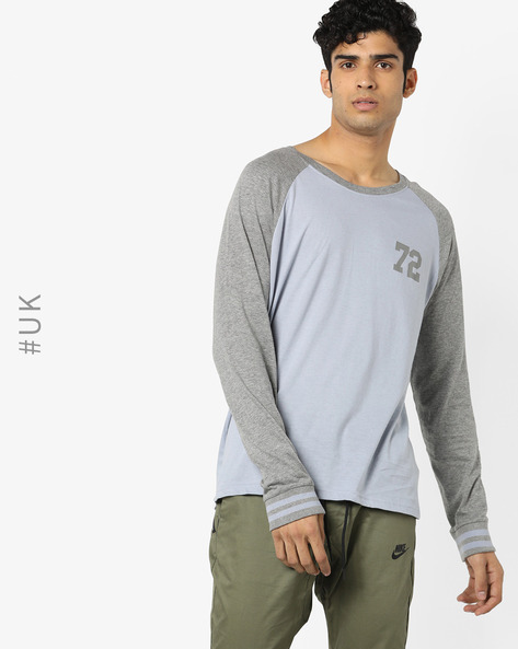 Crew-Neck T-shirt With Raglan Sleeves By BRAVE SOUL ( Blue )