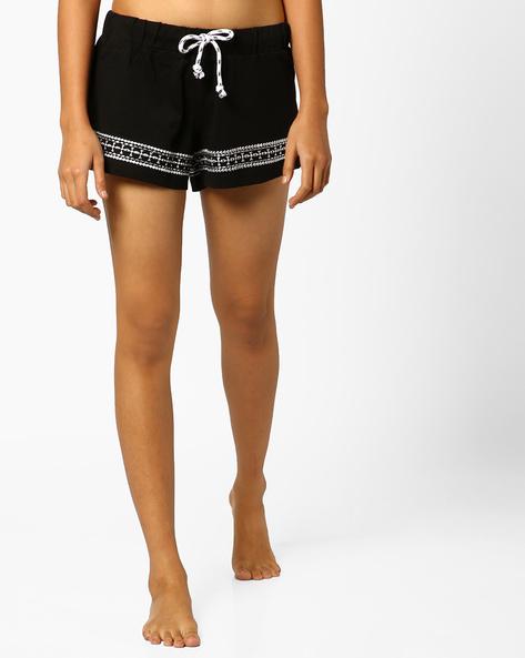Cotton Shorts With Drawstring By Slumber Jill ( Black )