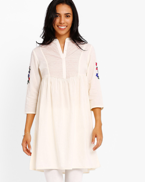 Kurta With Embroidered Sleeves By AJIO ( White )