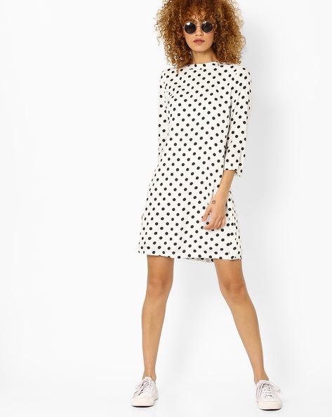 Polka-Dot Print Shift Dress By Vero Moda ( White )