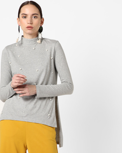 High-Neck Top With Embellishments By RI-DRESS ( Grey )