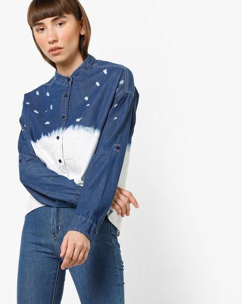 Ombre-Dyed Denim Shirt By AJIO ( Darkblue )