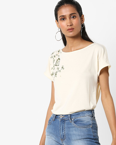 Round Neck Printed T-shirt By Vero Moda ( Cream )