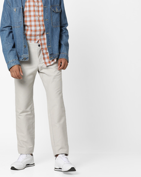 Slim Fit Flat-Front Trousers By INDIAN TERRAIN ( Lightgrey )