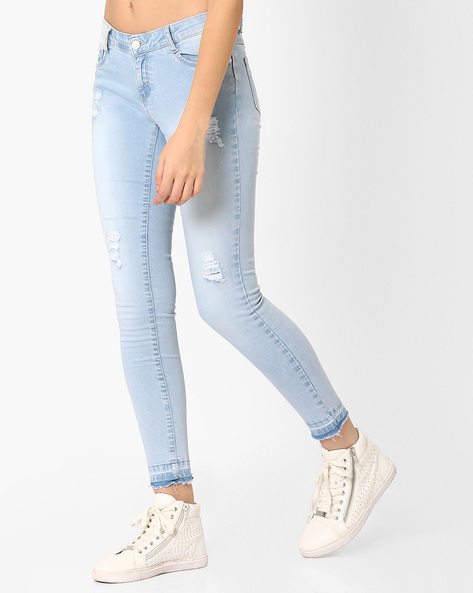 Distressed Skinny Fit Jeans By KRAUS ( Ltblue )
