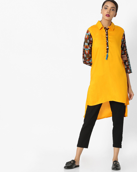 High-Low Tunic With Contrast Sleeves By Akkriti By Pantaloons ( Yellow )