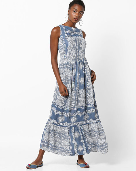 Printed Tiered Maxi Dress With Tie-Up Back By Rena Love ( Blue )
