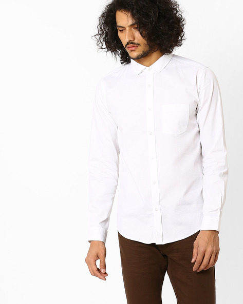 Slim Fit Dobby Shirt By BASICS ( White )