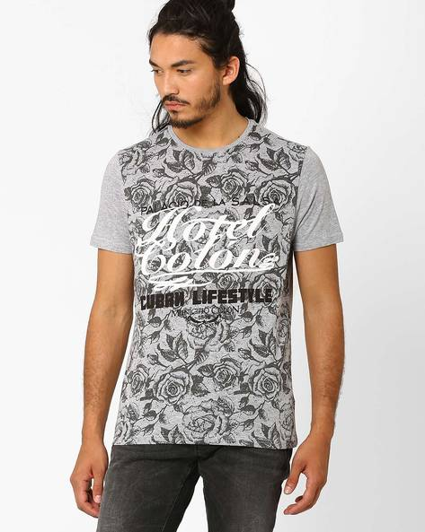 Floral Graphic Print T-shirt By AJIO ( Greymelange )