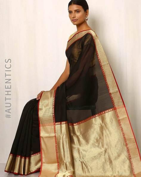 Handwoven Pure Silk Cotton Chanderi Saree By Indie Picks ( Black )