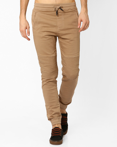 Panelled Twisted Fit Cuffed Trousers By Celio ( Beige )