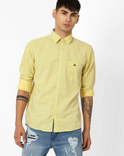 Printed Slim Fit Shirt By CRIMSOUNE CLUB ( Yellow )