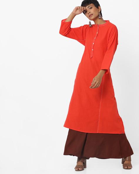 A-line Kurta With Mandarin Collar By Biba ( Orange )