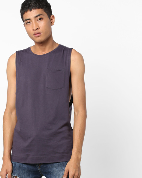 Sleeveless T-shirt With Patch Pocket By Blue Saint ( Lightgrey )