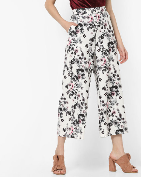 Floral Print Cropped Pants By CODE By Lifestyle ( Offwhite )
