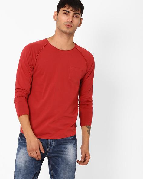 Crew-Neck T-shirt With Raglan Sleeves By Jack & Jones ( Maroon )