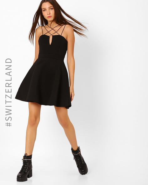 Skater Dress With Stylised Straps By TALLY WEiJL ( Black )