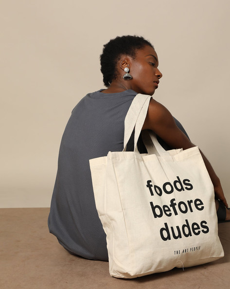 Typographic Print Cotton Canvas Tote Bag By The Art People ( White ) - 460179669001