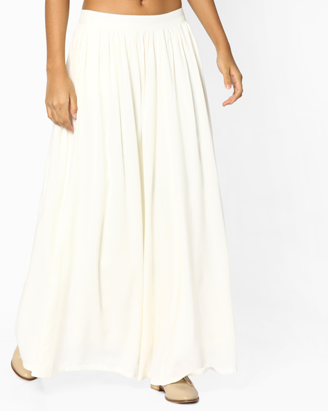 Flared Maxi Skirt By AJIO ( White )