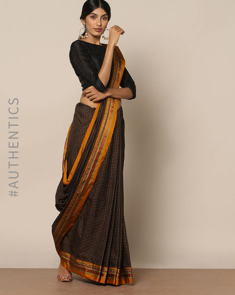 Cotton Silk Ilkal Saree With Zari Border By Indie Picks ( Black ) - 460140529001