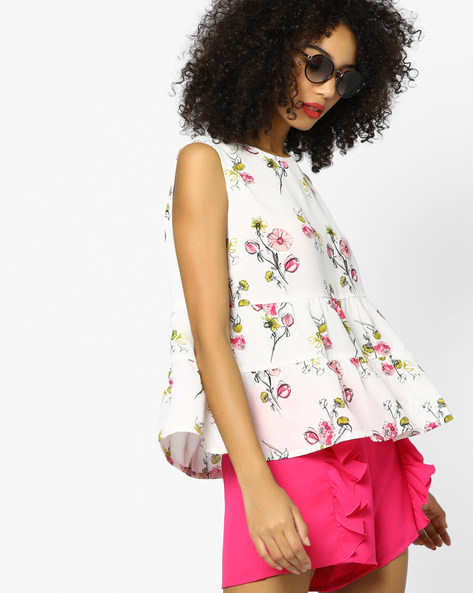 Floral Printed Tiered Top By AJIO ( Pink )