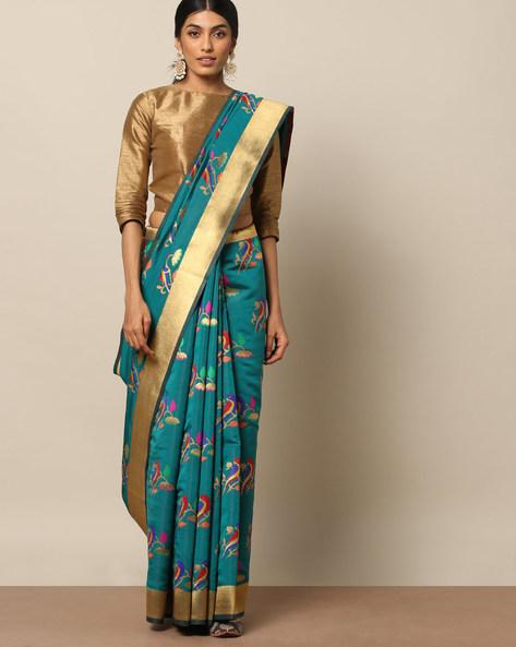 Banarasi Silk Bird Buta Saree With Zari Border By Pretty Woman ( Teal )