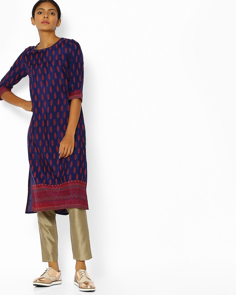 Floral Print Straight Kurta By AURELIA ( Blue )
