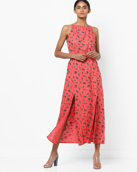 Printed Midi Dress With Front Slits By AJIO ( Coral )