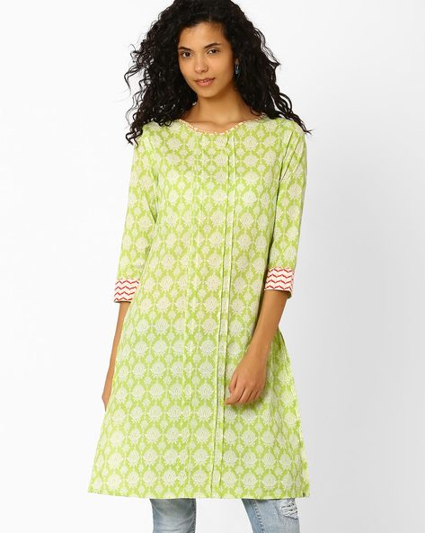 Floral Print Straight Kurta By AJIO ( Green )