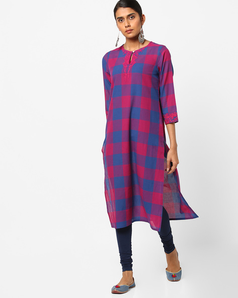 Checked Straight Kurta With Dori Embroidery By AJIO ( Blue )