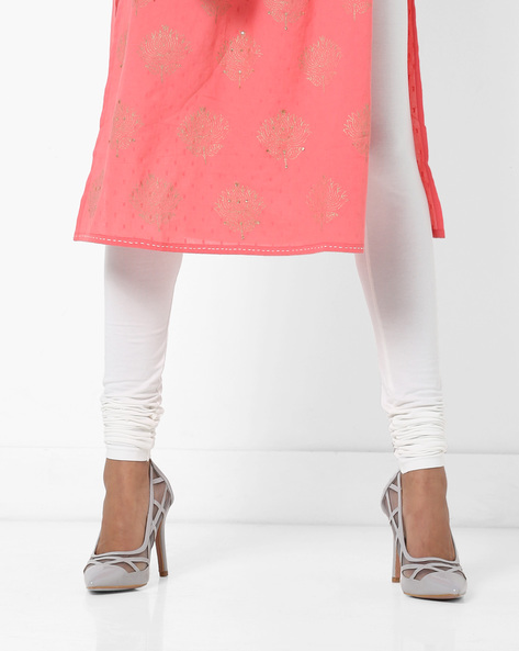 Churidar Leggings With Elasticated Waistband By AJIO ( Offwhite ) - 460160353003