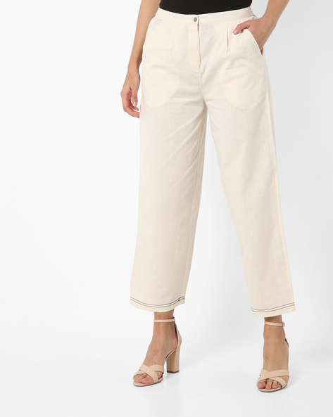 Mid-Rise Pants With Semi-Elasticated Waist By AJIO ( Offwhite )