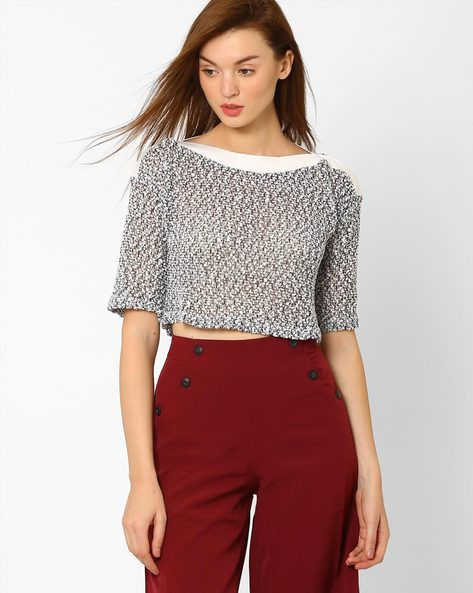 Sheer Boat Neck Crop Top By FIG ( Navy )