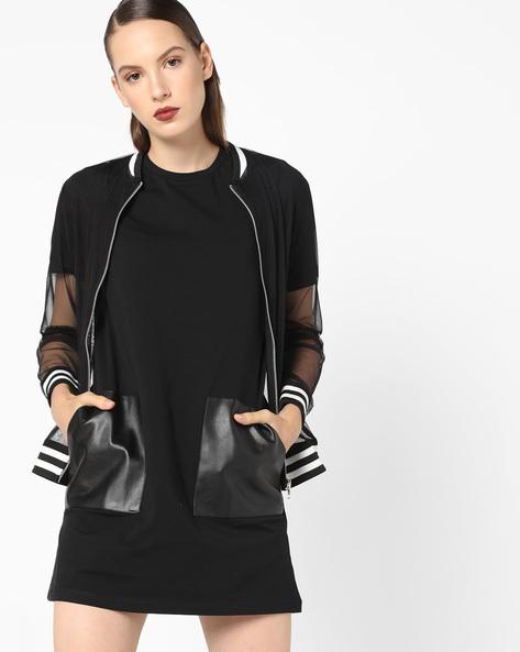 Shift Dress With Patch Pockets By AJIO ( Black )