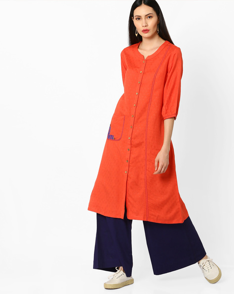 Kurta With Long Button Placket By Global Desi ( Orange )