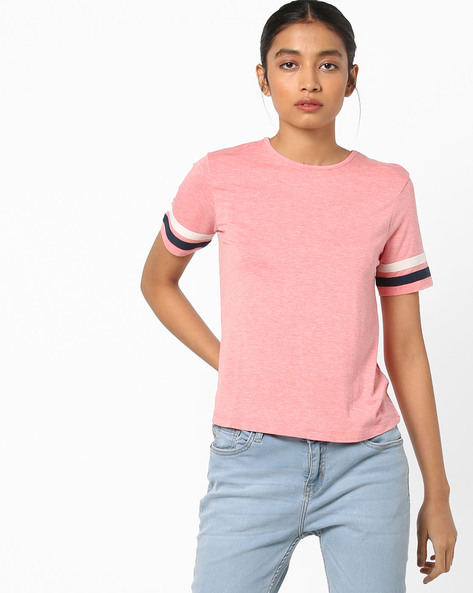 Heathered T-shirt With Contrast Taping By AJIO ( Coral )