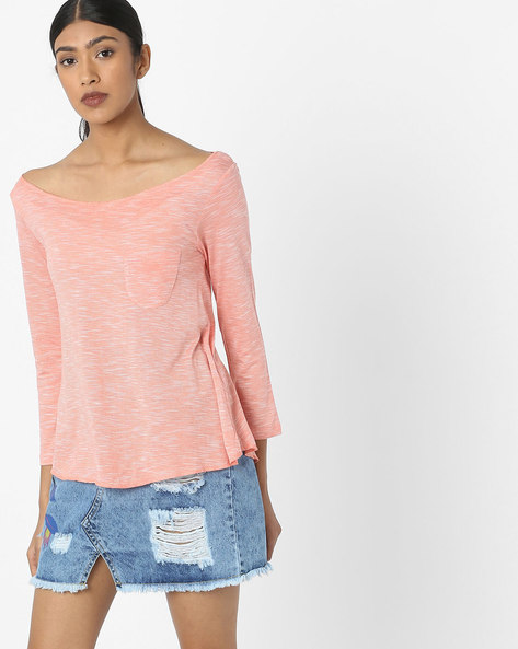 Boat-Neck T-shirt With Patch Pocket By DNMX ( Coral )