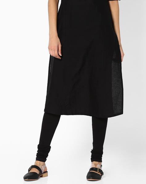 Churidar Leggings With Elasticated Waistband By Global Desi ( Black )