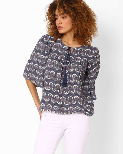 Printed Top With Flared Sleeves By FIG ( Navy )