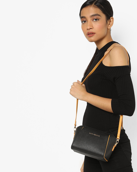 Textured Sling Bag With Detachable Strap By Lino Perros ( Black )