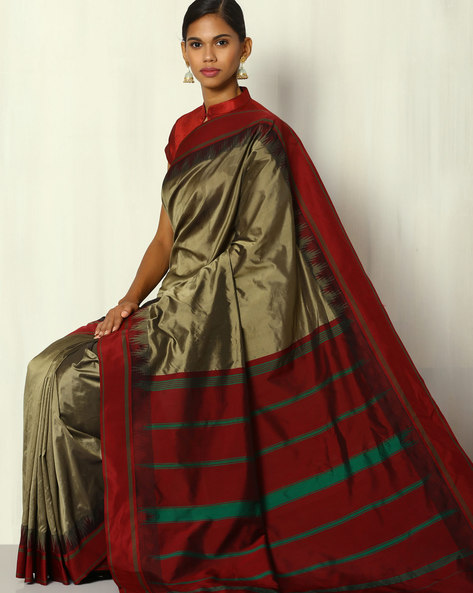 Silk Saree With Kadiyal Temple Border By BANASURI ( Grey )