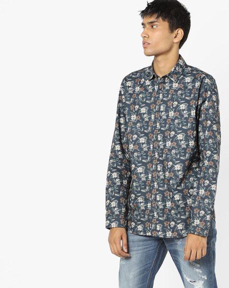 Floral Print Slim Fit Shirt By Jack & Jones ( Black )