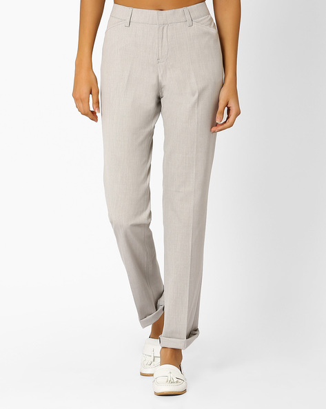 Flat-Front Trousers With Slant Pockets By Annabelle By Pantaloons ( Lgtgrey )