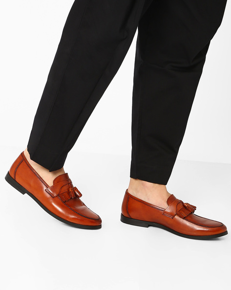 Genuine Leather Tasseled Loafers By HATS OFF ( Tan )