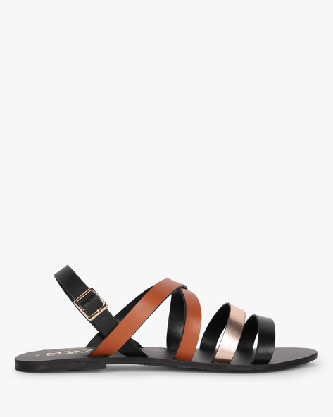 Strappy Flat Sandals With Buckle Closure By MUAZ ( Tan )