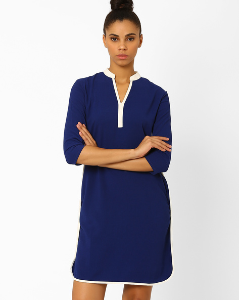 Shift Dress With Pockets By Femella ( Blue )