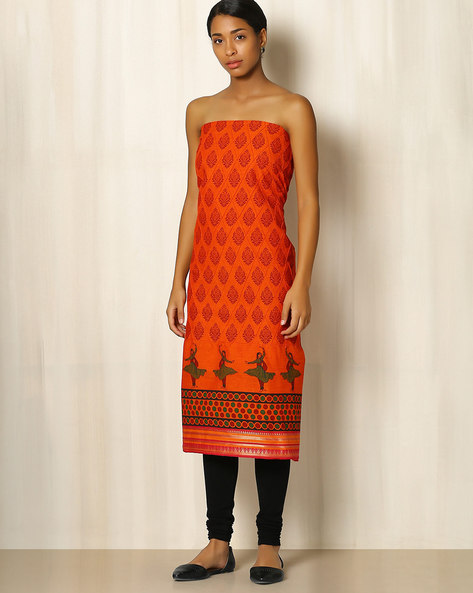 Printed South Cotton Kurta Fabric By Indie Picks ( Orange )