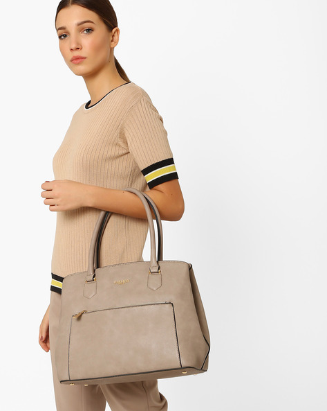 Shoulder Bag With Multiple Pockets By Carlton London ( Brown )
