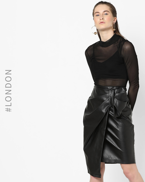 Asymmetrical Wrap Skirt With Pleated Panel By Closet London ( Black )