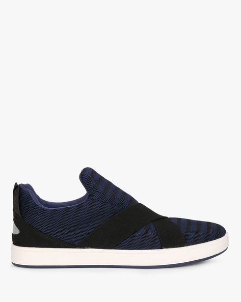 Slip-On Sneakers With Criss-Cross Overlay By UNITED COLORS OF BENETTON ( Navyblue )